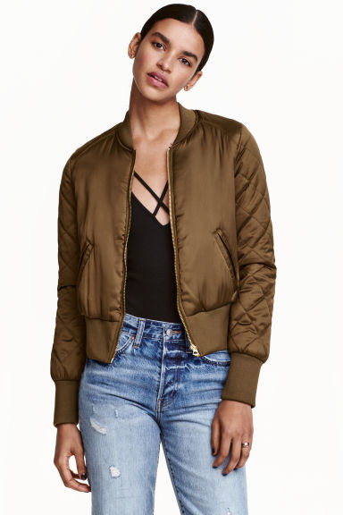 Short satin bomber jacket - Dark olive green - Ladies | H&M 1