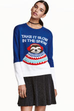 Jumper with a motif - Dark blue -  | H&M GB 1