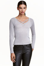 V-neck jumper - Grey/Glitter - Ladies | H&M CN 1
