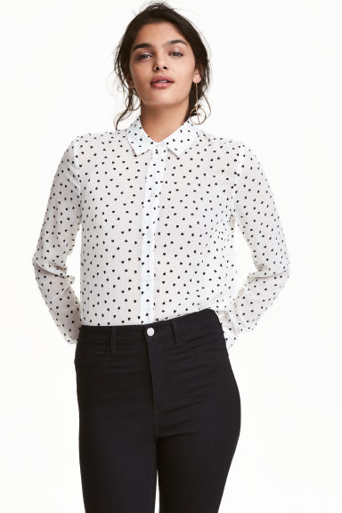 Long-sleeved blouse - White/Heart - Ladies | H&M CN 1