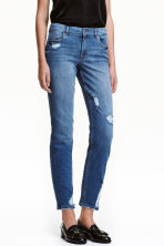 Relaxed Slim Jeans - 深牛仔蓝 - 女士 | H&M CN 1