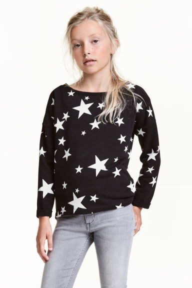 Sweatshirt - Black/Stars - Kids | H&M CN 1