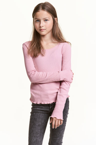 Long-sleeved jersey top - Old rose - Kids | H&M CN 1