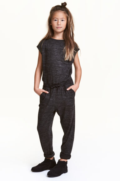 Fine-knit jumpsuit - Dark grey marl - Kids | H&M CN