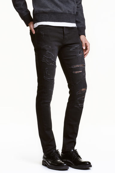 Slim Low Trashed Jeans - 水洗黑色 - 男士 | H&M CN 1