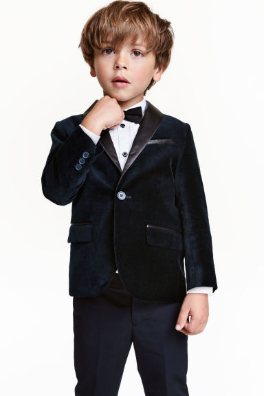 Cotton velvet jacket - Dark blue - Kids | H&M CN 1