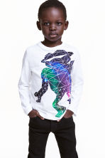 Long-sleeved T-shirt - White/Robot - Kids | H&M CN 1