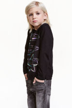 Long-sleeved T-shirt - Black/Space - Kids | H&M CN 1
