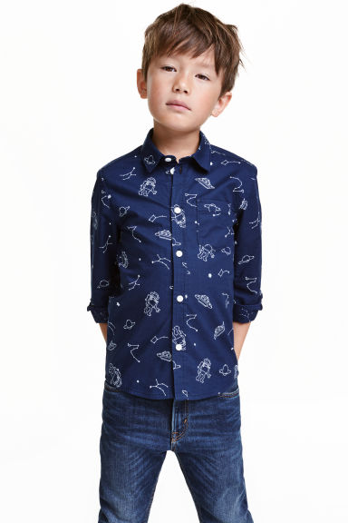 Printed cotton shirt - Dark blue/Space - Kids | H&M CN