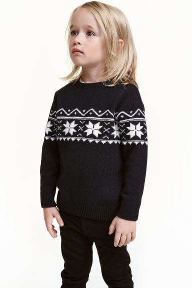 Jacquard-knit jumper - Black - Kids | H&M CN 1