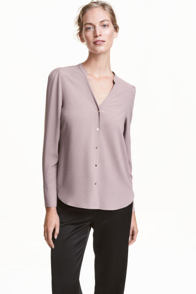 Puff-sleeved blouse - Heather purple - Ladies | H&M CN 1