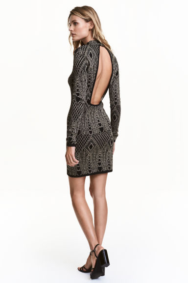 Glittery dress - Black/Patterned - Ladies | H&M CN 1