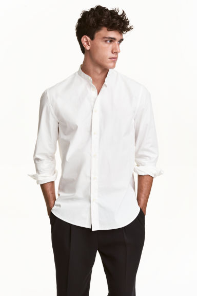 Shop for men's collarless shirts in long or short sleeve, in a range of different fit and colour options with ASOS. your browser is not supported. ASOS DESIGN slim shirt in white with grandad collar and contrast buttons. £ ASOS DESIGN skinny shirt in black with grandad collar. £