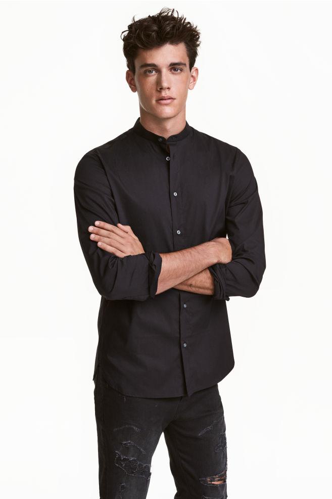 Grandad collar shirt - Black - Men | H&M CA