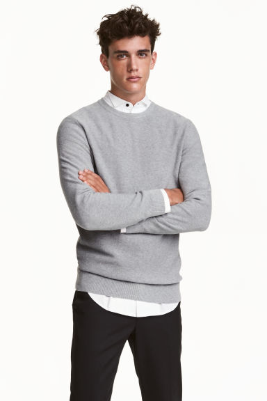 Cotton jumper - Grey marl - Men | H&M CN 1