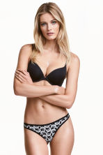 3-pack string briefs - Black/Patterned - Ladies | H&M CN 1
