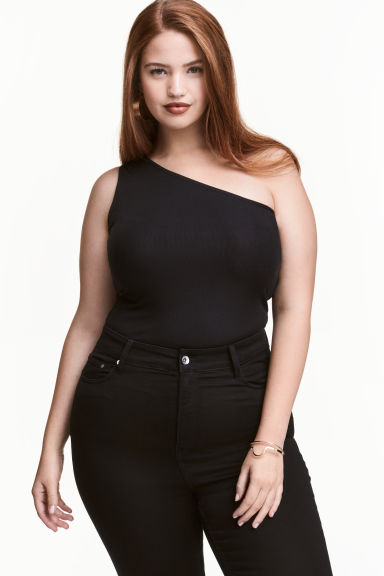 H&M+ One-shoulder top - Black - Ladies | H&M GB
