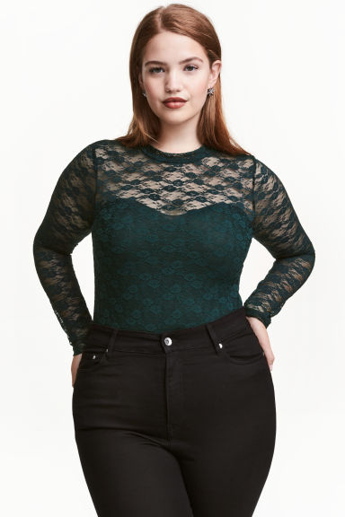 H&M+ Lace body - Dark green - Ladies | H&M CN 1
