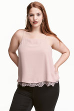 H&M+ Strappy top with lace - Powder pink - Ladies | H&M CN 1