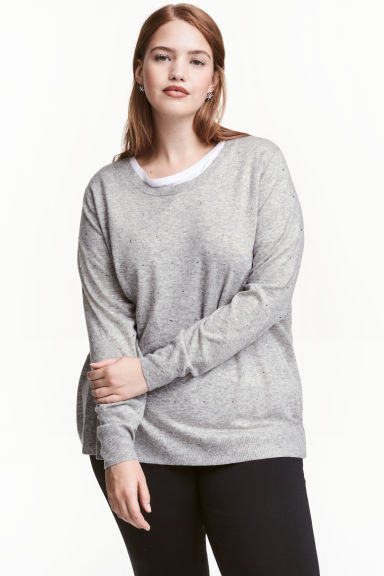 H&M+ Fine-knit jumper - Light grey marl - Ladies | H&M CN