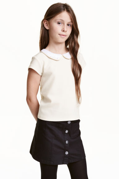 Top with a sequined collar - White - Kids | H&M CN 1