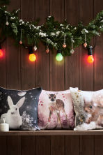 Printed cushion cover - Light pink/Roe deer - Home All | H&M CN 1
