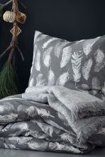 Patterned duvet cover set - Grey/Feathers - Home All | H&M CN 1