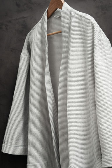 Waffled dressing gown - Light grey - Home All | H&M CN 1