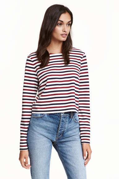 Cropped top - White/Striped - Ladies | H&M CN 1