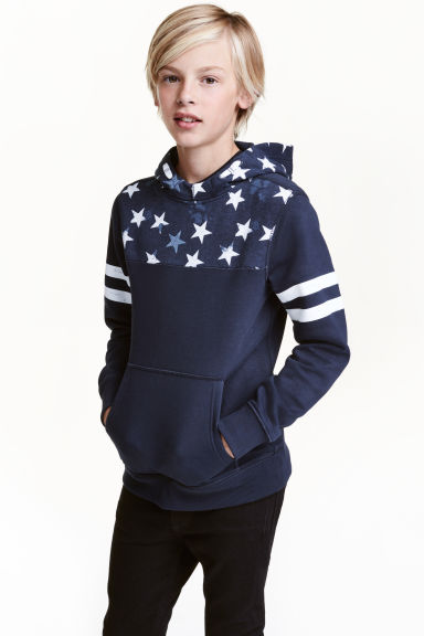 Hooded top with a print motif - Dark blue -  | H&M CN 1