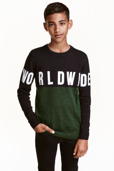 Knitted jumper - Dark green - Kids | H&M CN 1