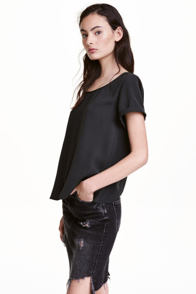 Ampio top con incrocio - Nero - DONNA | H&M IT 1