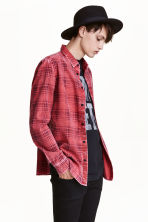 Washed cotton shirt - Red/Checked - Men | H&M CN 2