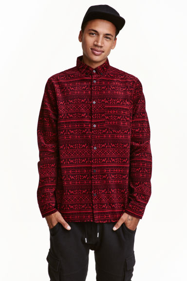 Corduroy shirt - Dark red - Men | H&M CN 1