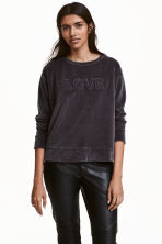 Velour sweatshirt - Dark grey - Ladies | H&M CN 1
