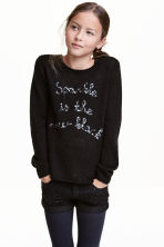 Knitted jumper with sequins - Black -  | H&M CN 1