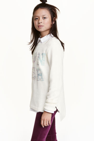 Knitted jumper with sequins - White - Kids | H&M CN