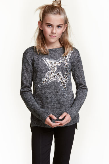 Knitted jumper with sequins - Dark grey/Star - Kids | H&M CN 1