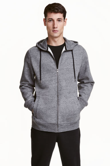 Marled hooded jacket - Dark grey - Men | H&M CN
