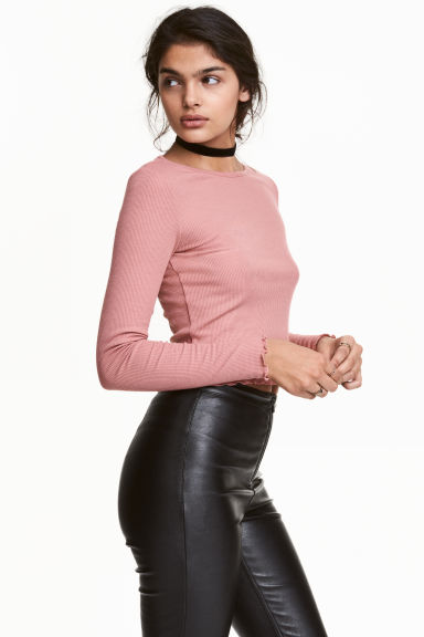 Cropped top - Old rose - Ladies | H&M CN