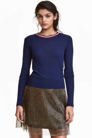 Ribbed top - Dark blue - Ladies | H&M CN 1