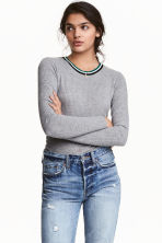 Ribbed top - Grey marl - Ladies | H&M CN 1