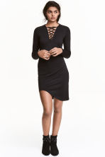 Jersey dress with lacing - Black - Ladies | H&M CN 1