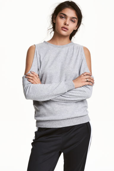 Cold shoulder sweatshirt - Grey marl - Ladies | H&M CN 1