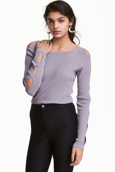 Cut-out jumper - Heather purple - Ladies | H&M GB 1