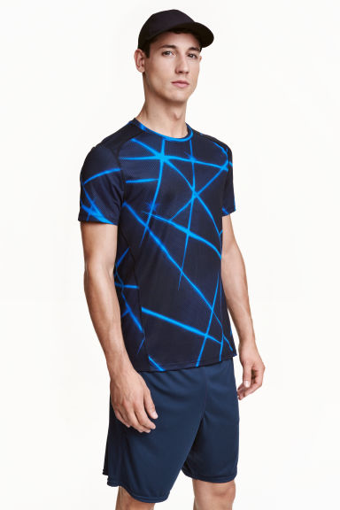 Short-sleeved sports top - Bright blue/Patterned - Men | H&M CN 1