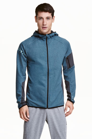 Hooded sports jacket - Grey-blue marl - Men | H&M CN