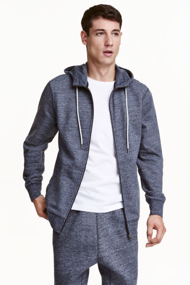 Marled hooded jacket - Blue - Men | H&M CN 1