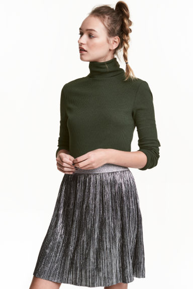 Ribbed polo-neck top - Dark green - Ladies | H&M CN 1