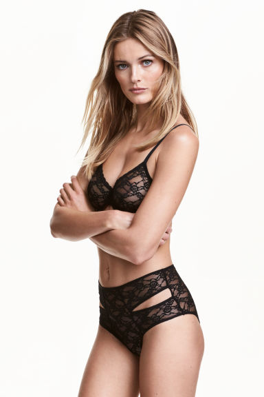 High-waisted lace briefs - Black - Ladies | H&M CN 1